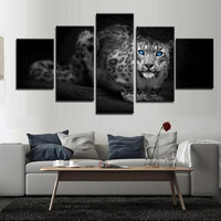Abstract Leopards Art Modern Home Decoration Wall Art Canvas Animal Picture Print Painting 5PCS Poster Custom