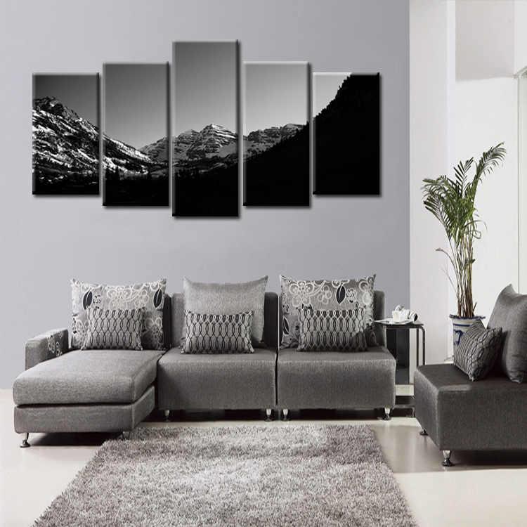 Top 5 sztuk/zestaw sceniczny śnieg góry serii obraz na płótnie salon dekoracji druku na płótnie zdjęcia oprawione/Abstrac-( 163)