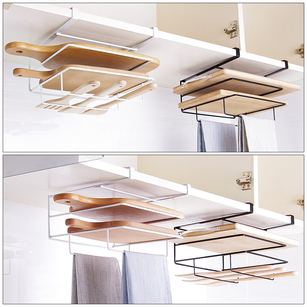 Kitchen Towel Holder Cutting Board Rack Chopping Board Holder Stainless Steel Hanging Storage Shelf Rack Kitchen Organizer