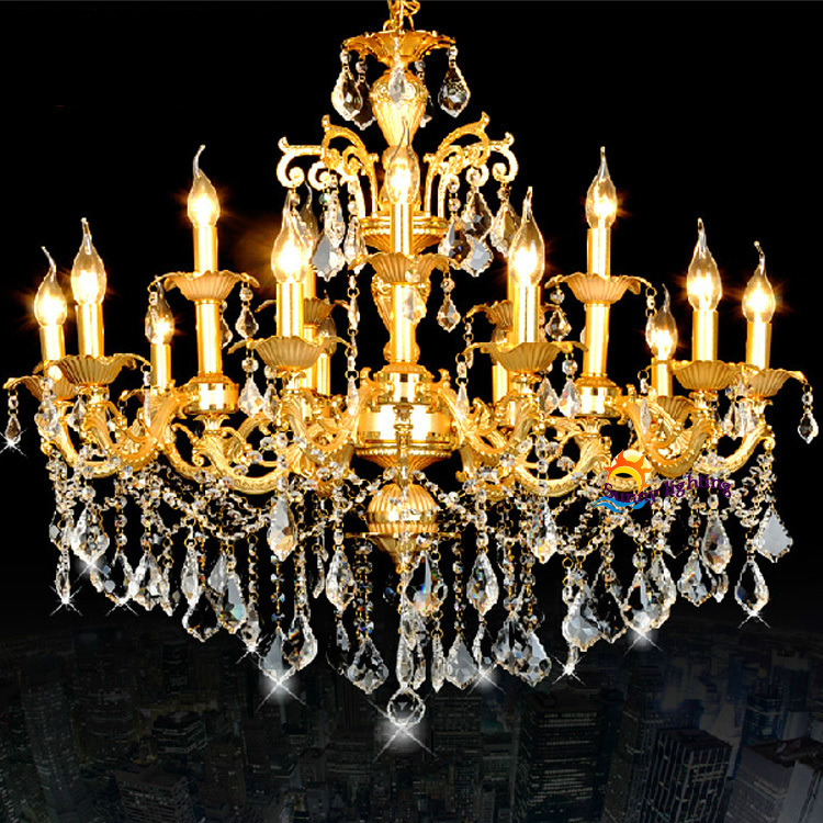Antique Led Candle Lamps Gold Crystal Chandeliers Hanging