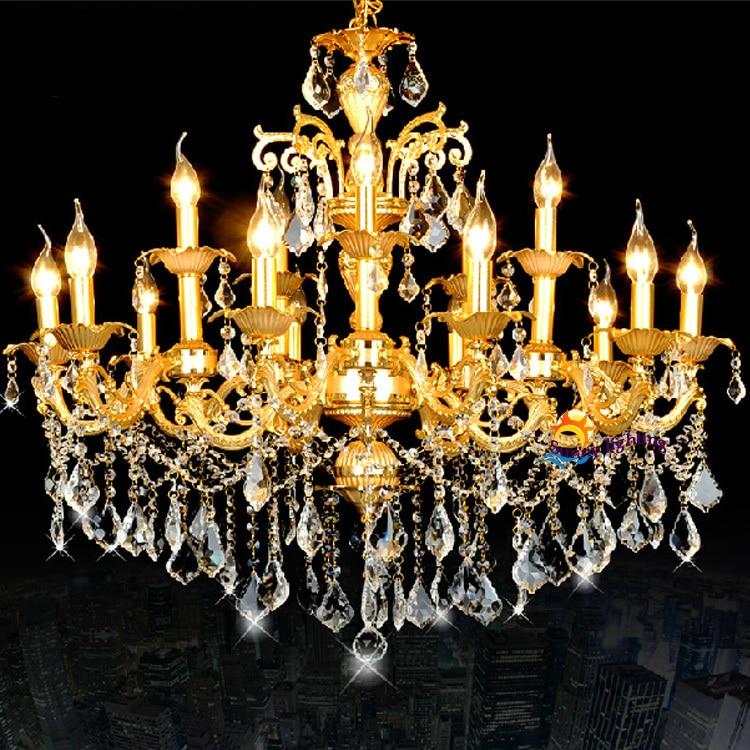 Antique led candle lamps gold crystal chandeliers hanging light Luxury vintage big chandelier Hotel villa living room chandelier led gold deco chandelier bulbs candle light e14 85 265v 5w lamps