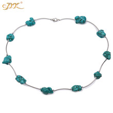 JYX 2019 Elegant Green Turquoise Necklace 13*20mm Oval Shape for Women Gemstone 19 bohemia style summer