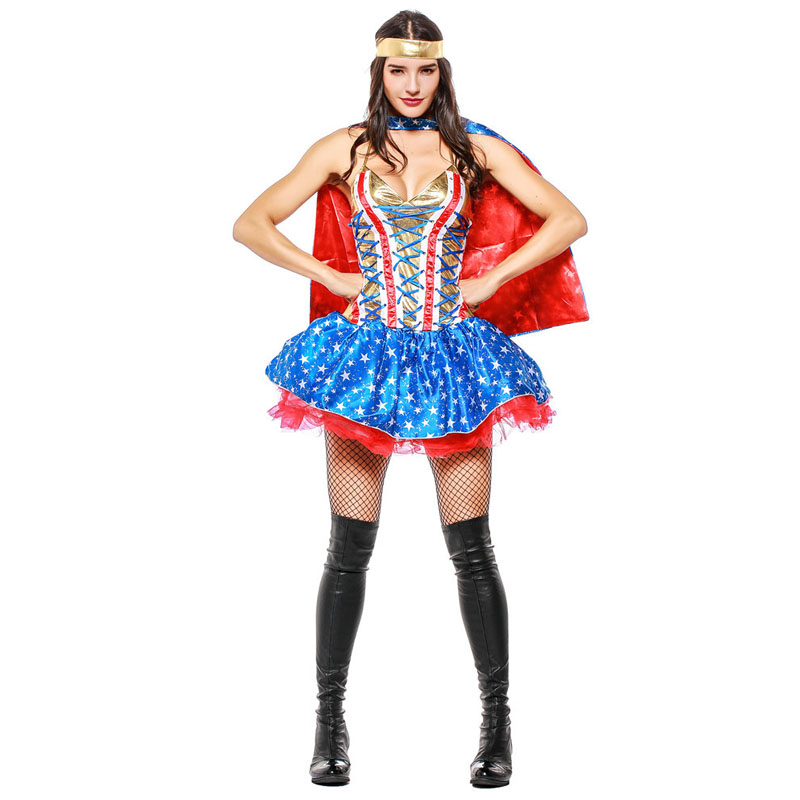 2018 Sexy Supergirl Costumes Anime Cosplay Wonder Woman Fancy Dresses for Girls The Avengers Superman Halloween Costume