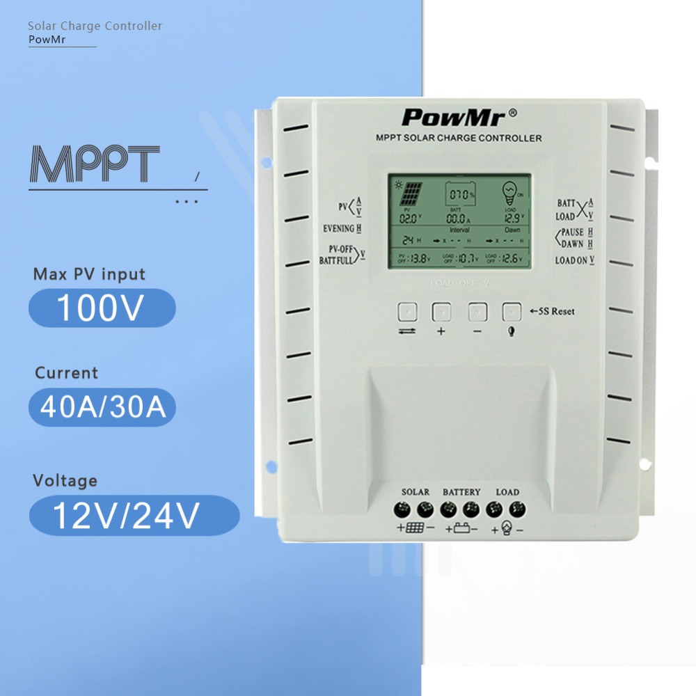 PowMr MPPT 40A 30A Solar Charge Regulator 24V 12V Auto for Max 100V Solar Panel Input Solar Charger Controller with Dual USB 5V mppt 40a 4210a solar charge controller 12v 24v automatic conversion lcd display max 100v regulator pc communication mobile