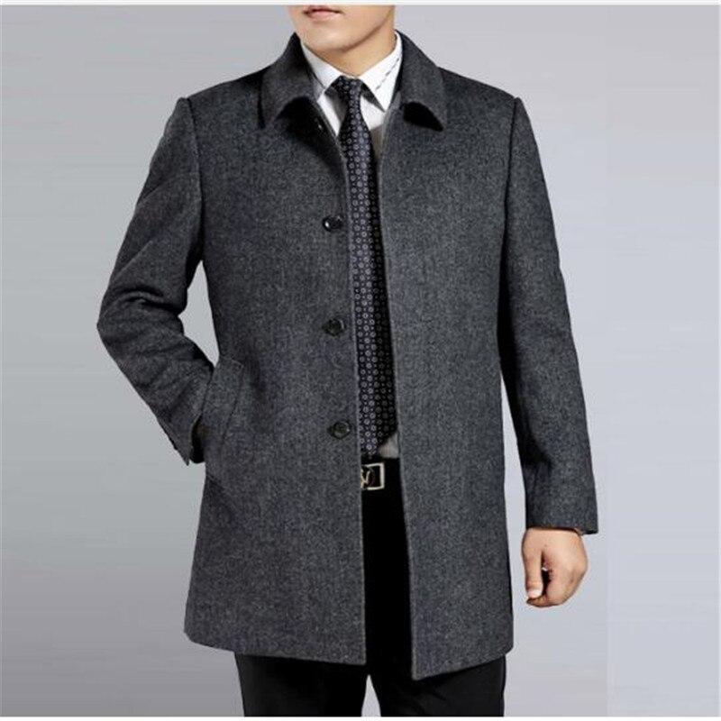 Мужское кашемировое пальто среднего возраста, мужской шерстяной Тренч с отложным воротником, однобортная шерстяная верхняя одежда, новинк...