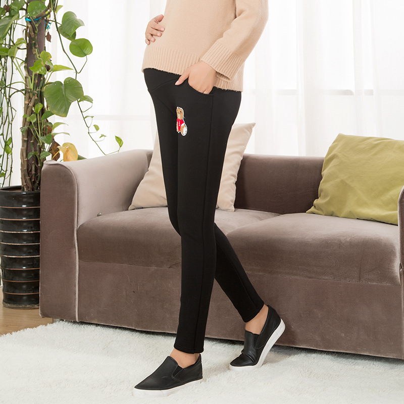 Extra thick Maternity Leggings with Velvet Bear Warm Prop Abdominal Pregnancy Trousers Winter Clothings For Pregnant Women