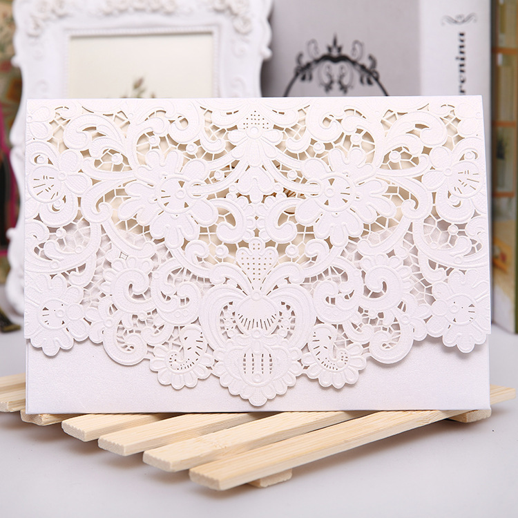 Red White Gold Laser Cut Wedding Invitation Card Luxurious Elegant Pocket Folded Invitations 100pcs In Cards From Home Garden On