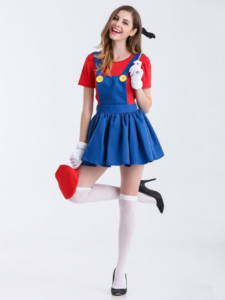 Free shipping Women s Mario Red Skirt Costume Halloween Cosplay Costume 7df5a0ba78