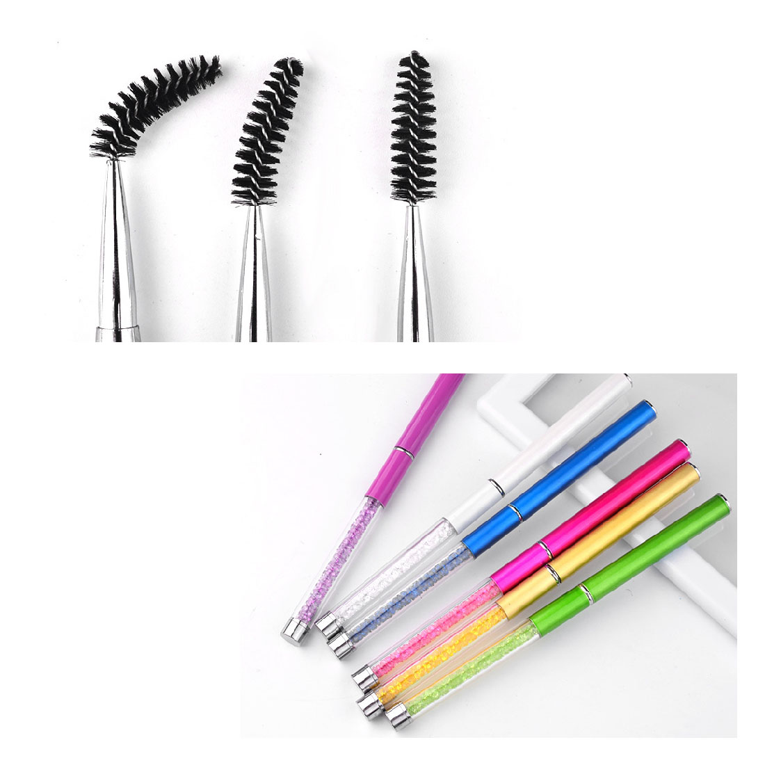 New rhinestone eye makeup brush eyelash eyebrow brush for Mascara with comb wand