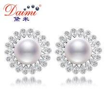 Daimi 11-12mm natural blanco perla pendientes flor y shinny crystal perlas de agua dulce pendientes de la joyería de lujo