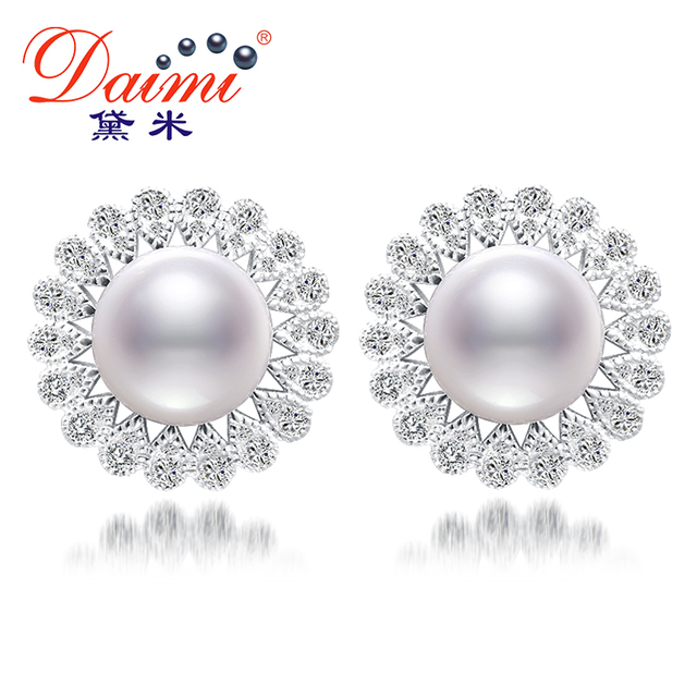 Daimi 11-12mm natural white pearl flor brincos & shinny o cristal de água doce pérola brincos de jóias de luxo