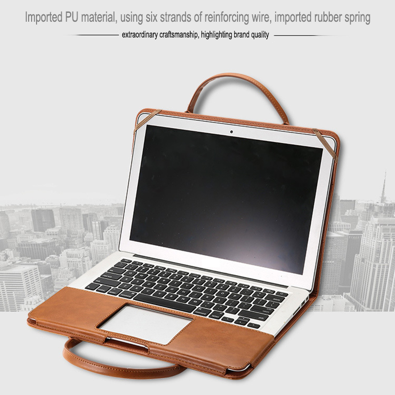PU Leather Laptop Briefcase For Macbook Air 11 13 Pro 15 11/12 15.4 New Touch Bar Notebook