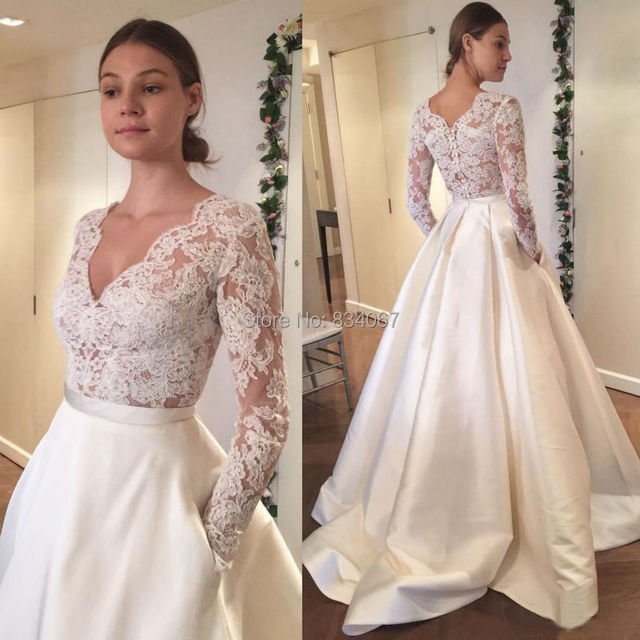 874b69192f91 Ivory Satin Skirt Wedding Dress 2017 V neck Top Lace Long Sleeves Bride  Dresses Elegant Wedding Gowns Cheap Price Casamento