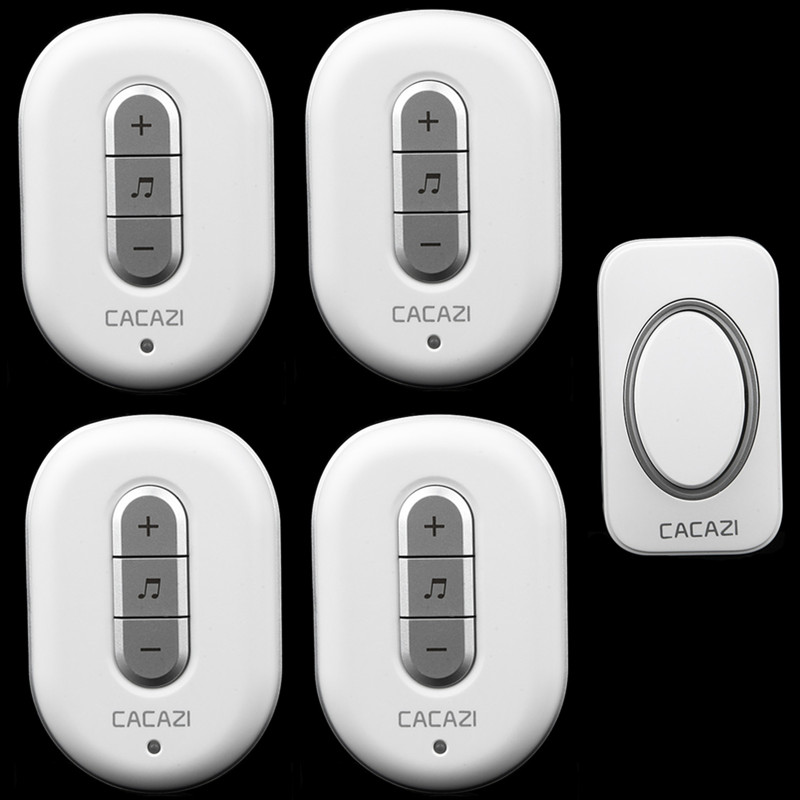CACAZI-C9918-1 transmitter+4 receivers,AC 110/220V Wireless Doorbell,Waterproof button,48 ringtones 6 volume door chime 2 colors 2 receivers 60 buzzers wireless restaurant buzzer caller table call calling button waiter pager system