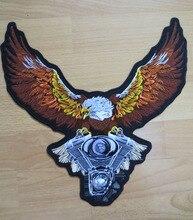 13 นิ้ว Eagle ขนาดใหญ่เย็บปักถักร้อยแพทช์สำหรับแจ็คเก็ตกลับเสื้อกั๊กรถจักรยานยนต์คลับ BIKER MC