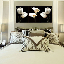 Dream home white tulip calla lily triplets flower decoration picture family frameless core hanging
