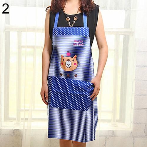 Women Cartoon Bear Stripe Dot Waterproof Apron