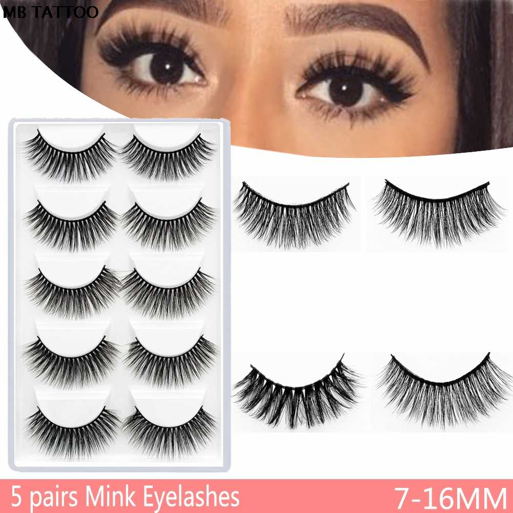 e7b651c31fc MB 2019 New 5 Pairs Mink Eyelashes Hair Handmade Natural Cross Long Fake  Eye Lashes Extension