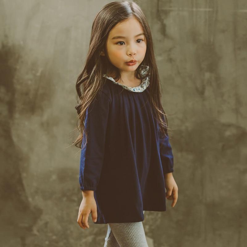 835c7932a الكورية تصميم الأزياء للبنات القطن اللباس الخريف الشتاء طوق الأزهار الأميرة فساتين  أطفال حزب الملابس