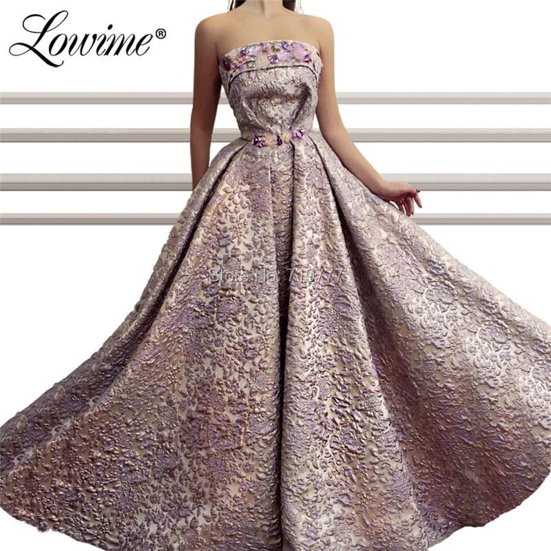 Strapless Islamic Evening Dresses Customized 2019 Vestido De Festa Saudi Arabic Couture Prom Dress Beaded Flower Party Gowns