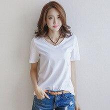 Titotato Summer Top Women T-shirt Short Solid White V-Neck Cotton Simple Harajuku Clothes 2019 Camiseta De Mujer Plus Size S-3XL