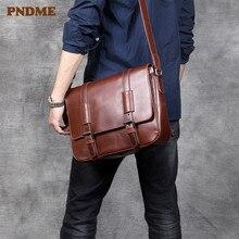 PNDME vintage fashion high quality first layer cowhide men's shoulder bag soft genuine leather summer casual messenger bags