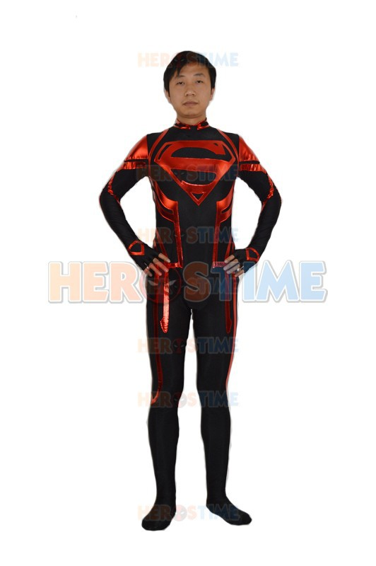 Newest Custom Made Superman Costume Halloween Cosplay Black & Red Spandex Superman Superhero Costumes Show Zentai Suit free shipping dhl custom made new arrival sexy red pvc zentai catsuit zentai suit for halloween party front zipper zp1508