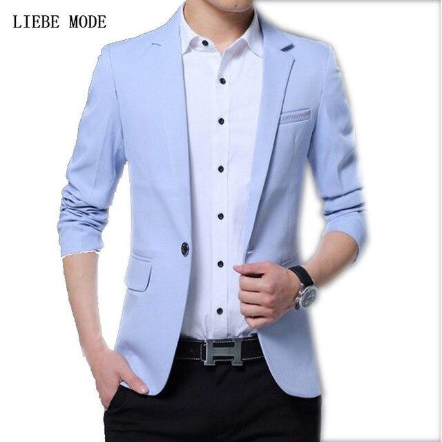 6188b3f3edb Mens Korean Slim Fit Fashion Cotton Blazer Suit Jacket Black Blue Khaki  Beige Male Blazers Mens Coat Wedding Dress Suits 4XL 5XL