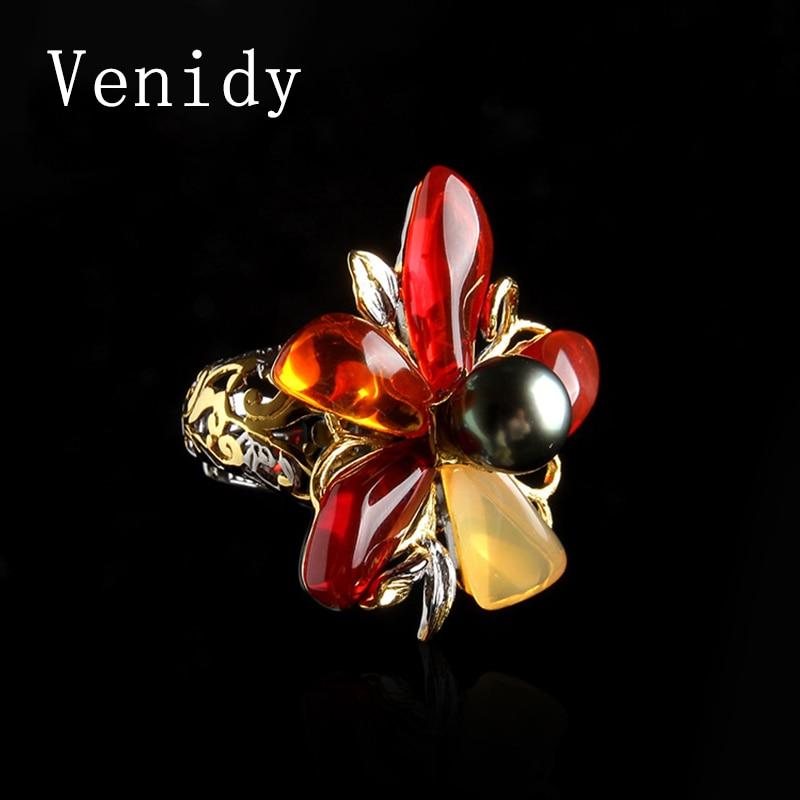 Venidy Female Natural Opal Pearl Ring Fashion Black Tahitian Pearls Jewelry Vintage Wedding Rings For Women Birthday Stone Gifts тренога для походного котла kukmara т03
