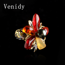 Venidy Female Natural Opal Pearl Ring Fashion Black Tahitian Pearls Jewelry Vintage Wedding Rings For Women Birthday Stone Gifts