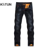 KSTUN Brand Men Jeans Winter Hot Insulated Black Warmer Jeans Man Thicken Elastic Skinny Slim Fit