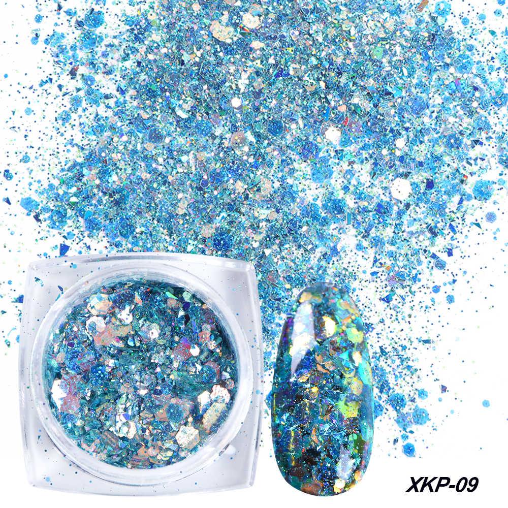 1 caja de purpurina de uñas Power sirena lentejuelas copos polvo de uñas brillante destellos irregulares decoraciones 3D manicura consejos TRXKP01-12