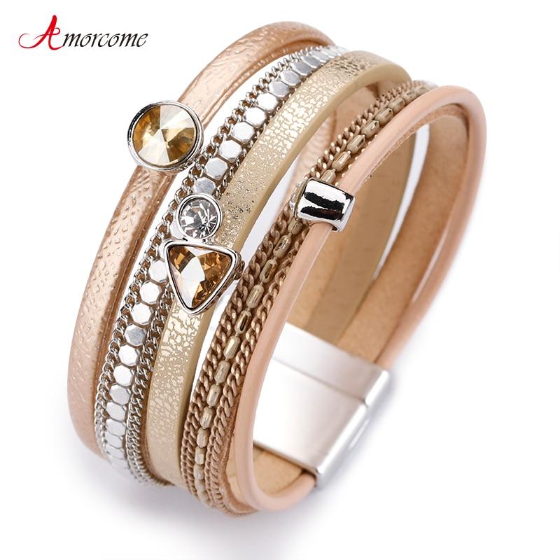 Amorcome Multilayer Leather Bracelets For Women Trendy Rhinestone Crystal Charm Femme Wide Bracelets & Bangles Female Jewelry
