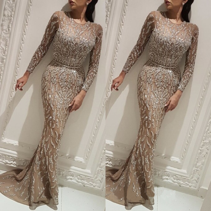 Newest Beaded Tulle   Prom     Dresses   Long Sleeve Sexy Mermaid Evening Women Elegant Party Gown
