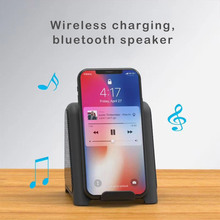 Portable Bluetooth Speaker Wireless Charger For Samsung Galaxy S10 Plus Qi Fast Charging For iPhone XS MAX Xiaomi Mi 9 Speakers цена 2017