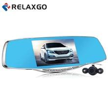 """Relaxgo 5 """"DVR coche Espejo Retrovisor Grabador de Vídeo Full HD 1080 P Cámara de Doble Lente Del Coche Aparcamiento Leva de la Rociada Cuadro Negro Noche visión"""