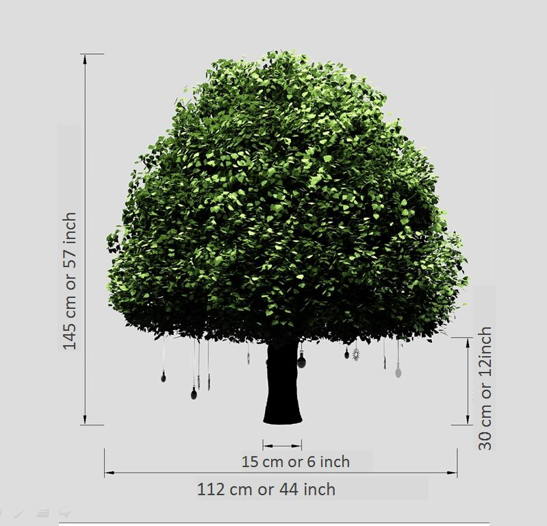 Production cost of sample Lote tree green leaves Height 1.45 meters Rotatable