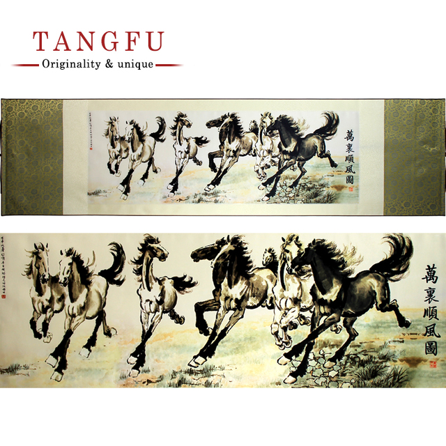 NEW Chinese large wall canvas Painting Famous horse riding Silk scroll painting art print vintage home decor decorative pictures
