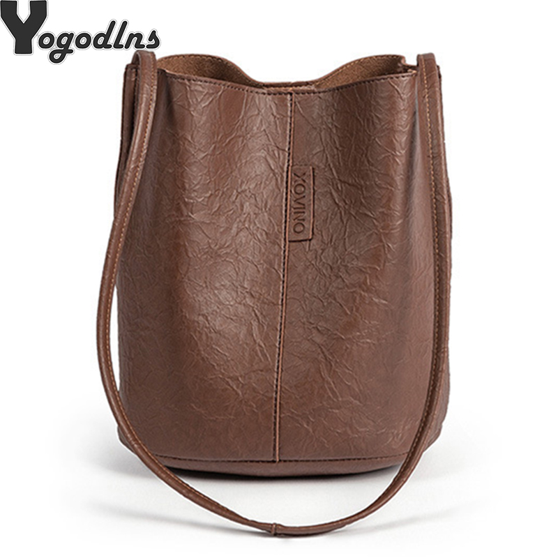 New Tide Solid Oil PU Material Small Fairy Bag Bucket Bag Casual Wild Single Shoulder Ladies Crossbody Messenger BagNew Tide Solid Oil PU Material Small Fairy Bag Bucket Bag Casual Wild Single Shoulder Ladies Crossbody Messenger Bag