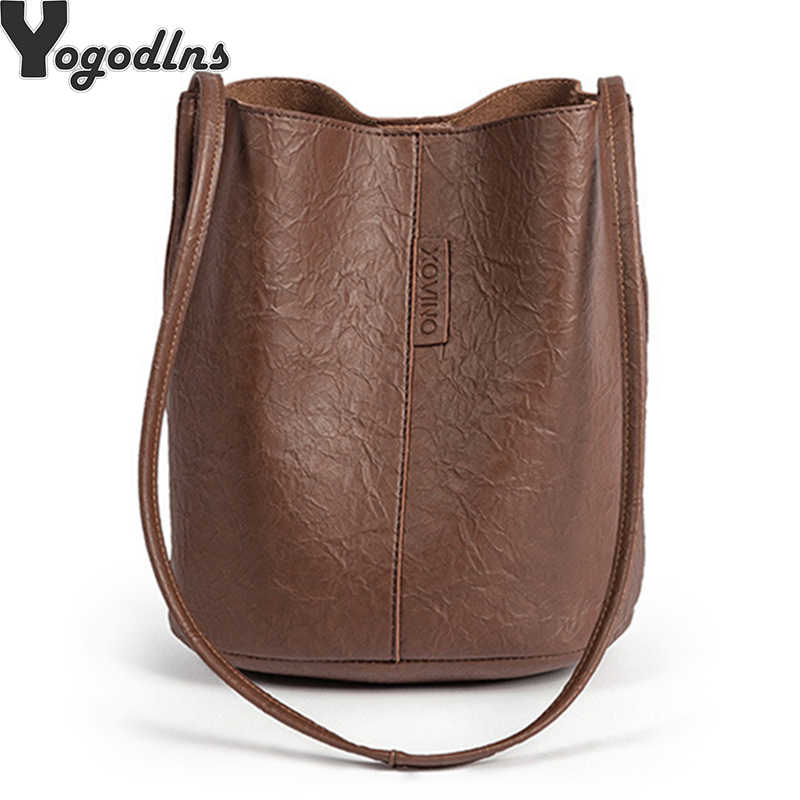 Yeni gelgit katı yağ PU malzeme küçük peri çanta kova çanta rahat vahşi tek omuz bayanlar Crossbody askılı çanta