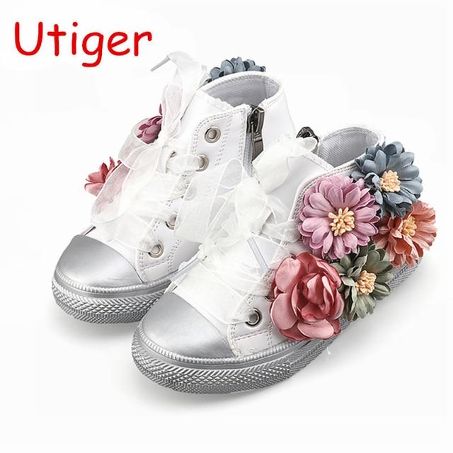471b734d192b9 Enfants Fille Bébé Marque Espadrille Enfant High Top Lace Up Fille  Chaussures Enfant De Mode Floral