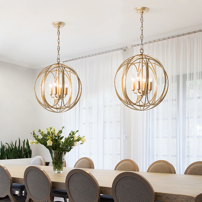 Nordic Gold Pendant Lights Modern Round Cage Hanging Lamp Loft Industrial Decor Dining Room Kitchen Lighting Fixtures Luminaire