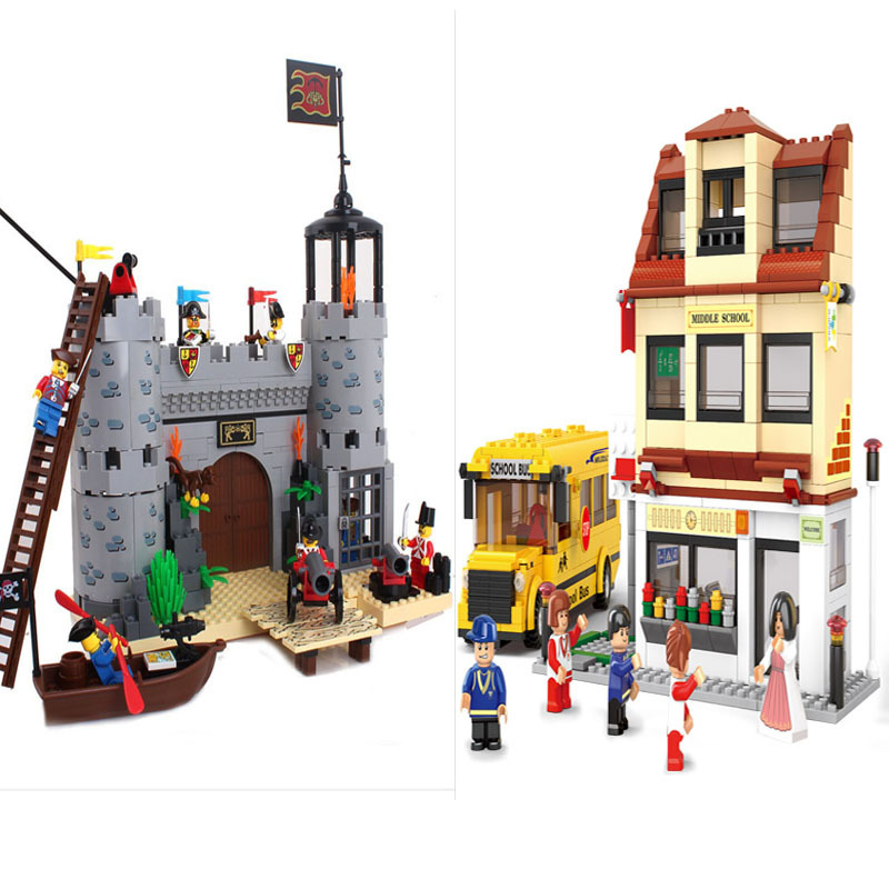 Educational Toys for children blocks Building  pirate see Robbery barracks  rover self-locking bricks Compatible with Lego 366pcs set pirate castle pirates robbery barracks model building blocks savage pirate figures bricks diy toys for boys gift
