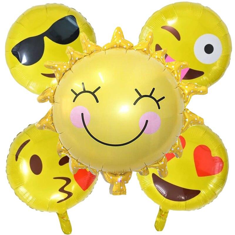 5pcs/lot Smile Sun foil balloons face helium balloon globos inflatable happy bir
