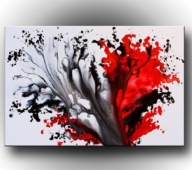 Hand Painted Abstract Oil Painting Modern Home Decoration Wall Art Picture  Graffiti Acrylic Paintings Inked Red
