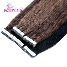"""K.S лента для париков Remy человеческие волосы для наращивания прямые волосы для наращивания с двойным нарисованным кожным плетением 1"""" 20"""" 24"""""""