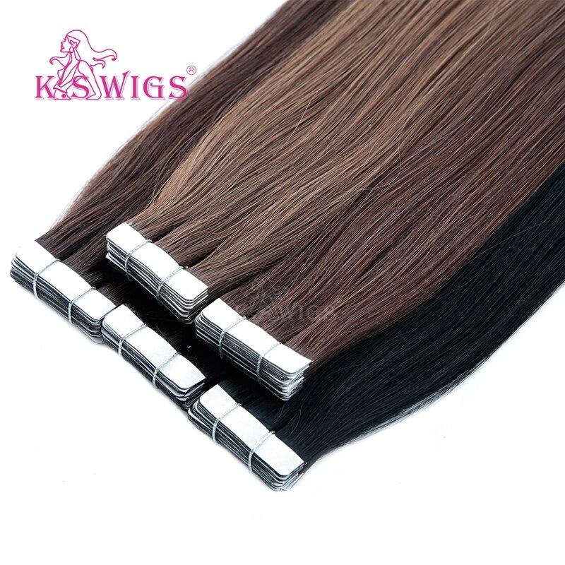 KS PERÜCKEN Band In Remy Menschliches Haar Extensions Gerade Doppel Gezogen Haut Schuss Menschliches Haar Extensions 16 20 24
