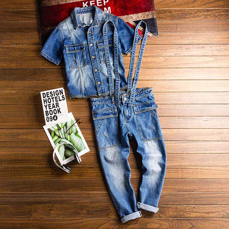 Mcikkny New Fashion Men\`s Ripped Denim Bib Overalls With Jackets Multi pockets Jeans Jumpsuit For Male Washed Size M-2XL (6)