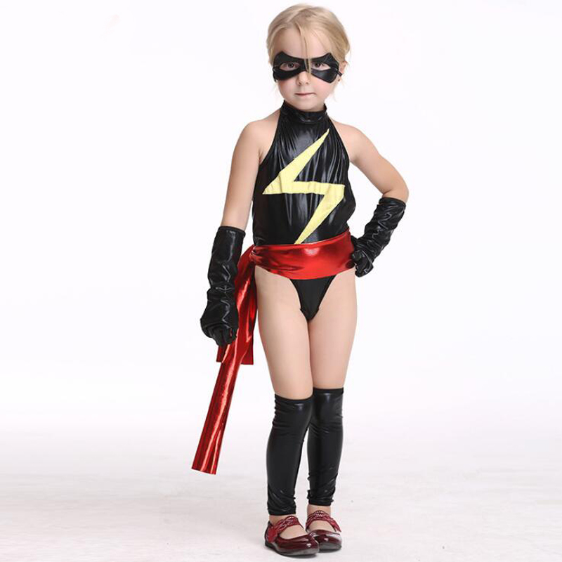 2018 Girls Superhero Cosplay Costume Ms Marvel Faux Leather Black Jumpsuit Kids -7593