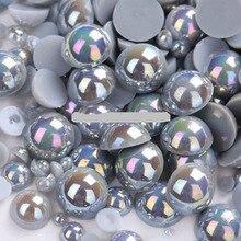 Серебристо-серый цвет, размер 8 мм, 100 шт./лот, полукруглые жемчужины для рукоделия, аксессуары для ювелирных изделий
